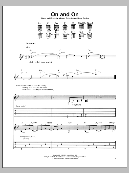 Tablature guitare On And On de Michael Schenker - Tablature Guitare