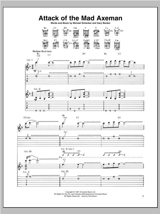 Tablature guitare Attack Of The Mad Axeman de Michael Schenker - Tablature Guitare