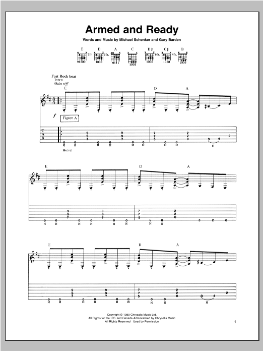 Tablature guitare Armed And Ready de Michael Schenker - Tablature Guitare