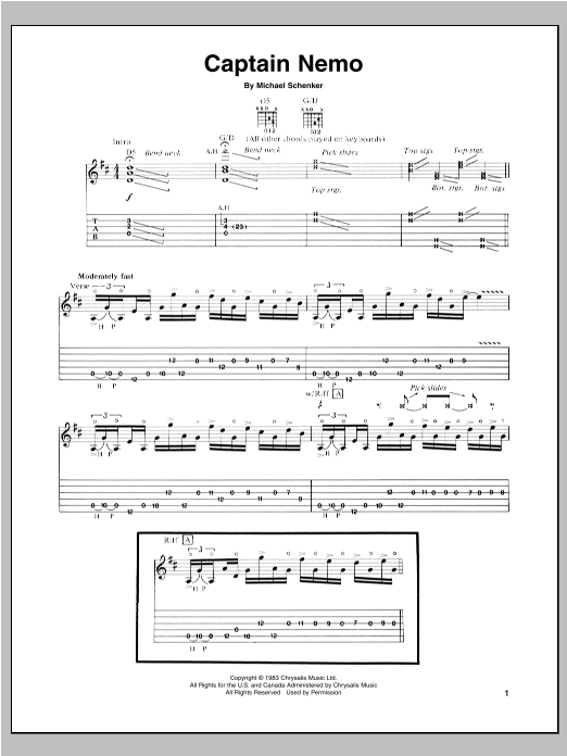 Tablature guitare Captain Nemo de Michael Schenker - Tablature Guitare