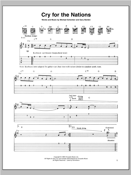Tablature guitare Cry For The Nations de Michael Schenker - Tablature Guitare