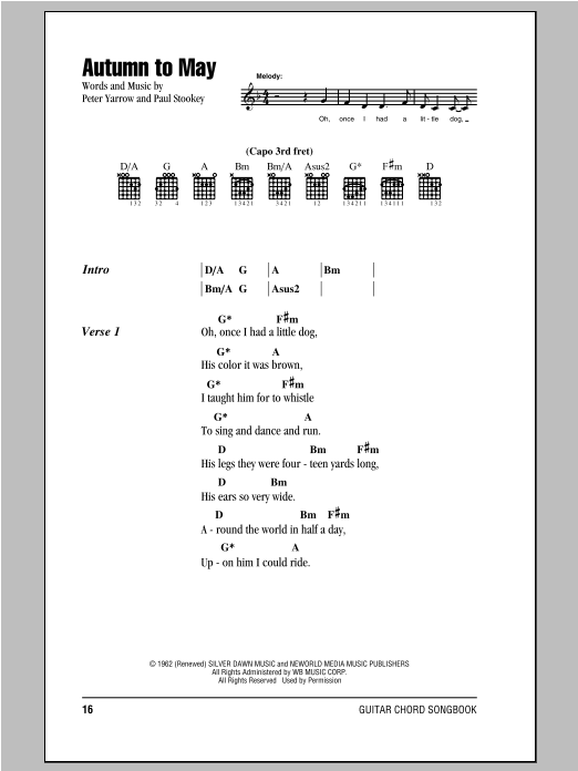 Sheet Music Digital Files To Print - Licensed Peter, Paul & Mary ...