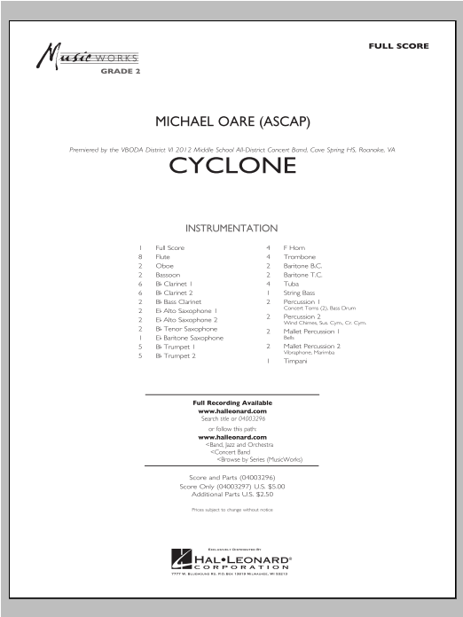 Cyclone (COMPLETE) sheet music for concert band by Michael Oare