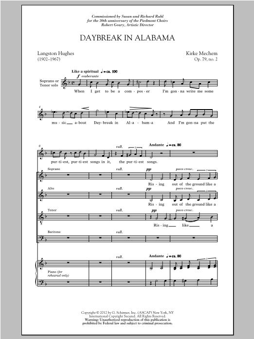 Partition chorale Daybreak In Alabama de Kirke Mechem - SATB