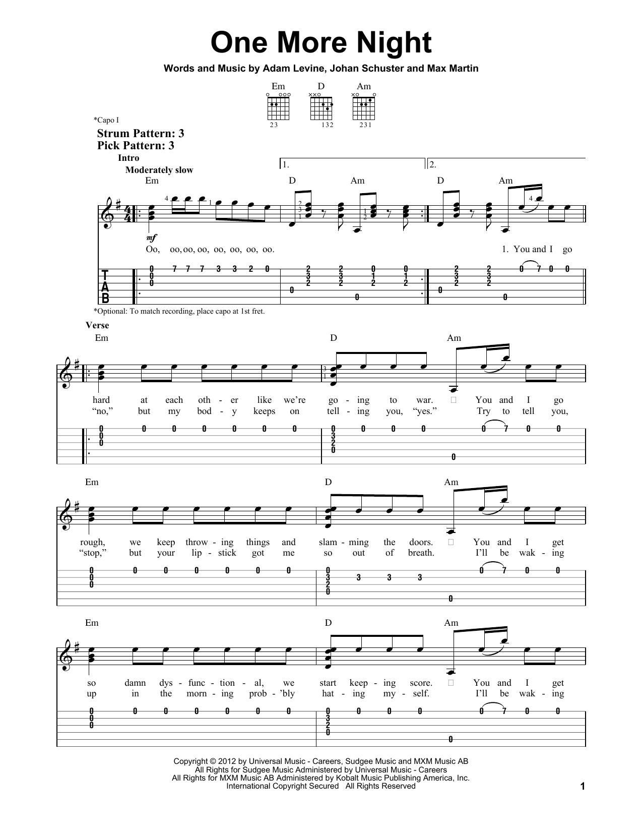 Tablature guitare One More Night de Maroon 5 - Tablature guitare facile