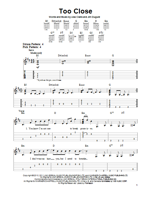 Tablature guitare Too Close de Alex Clare - Tablature guitare facile