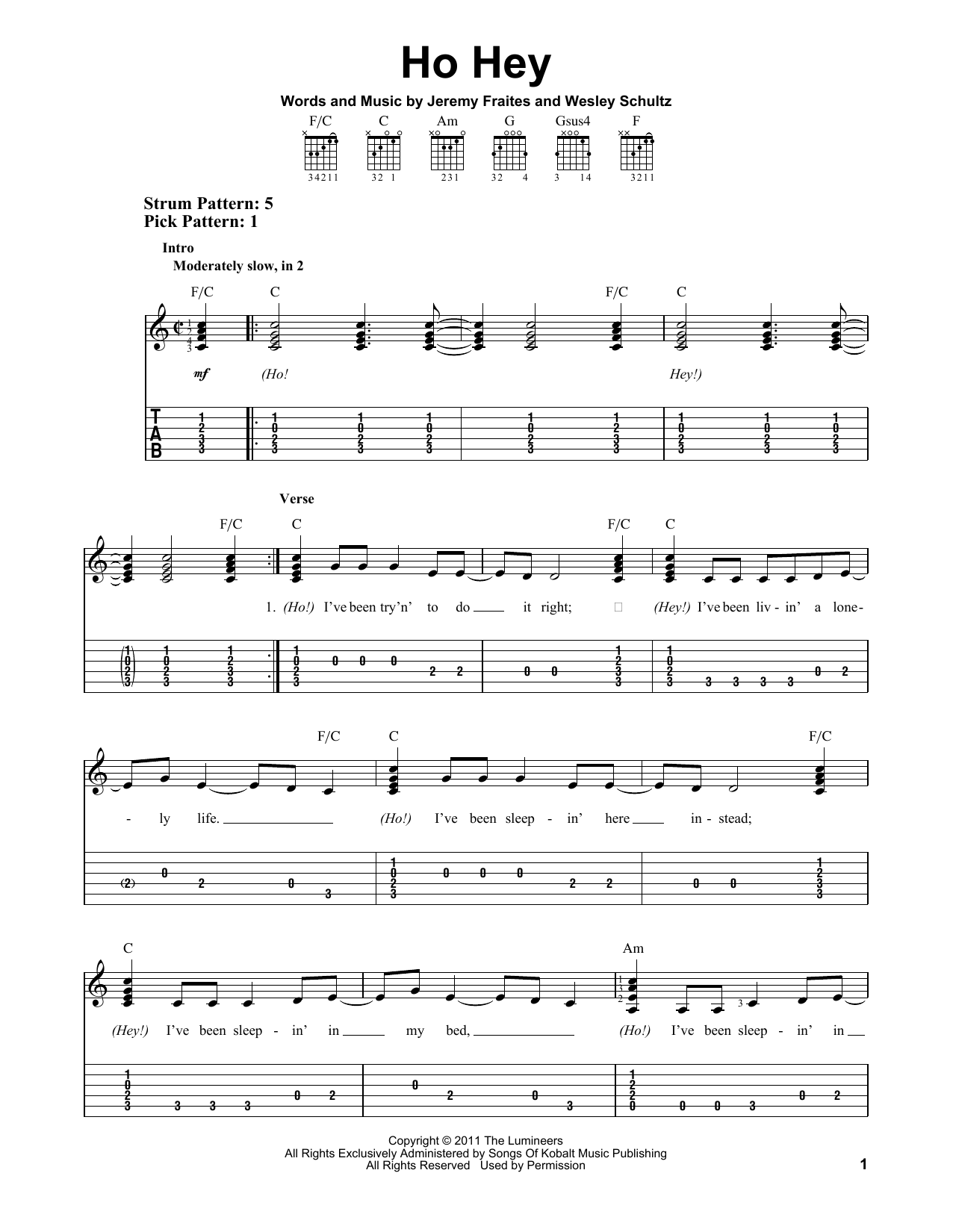 Tablature guitare Ho Hey de The Lumineers - Tablature guitare facile