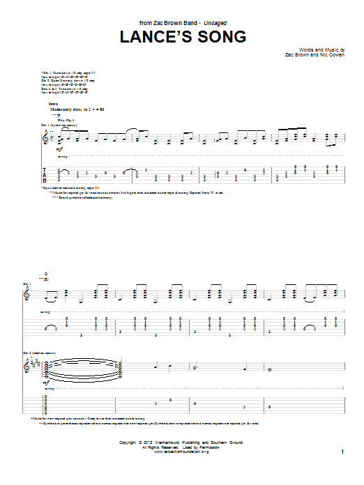Tablature guitare Lance's Song de Zac Brown Band - Tablature Guitare