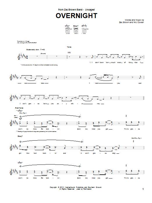 Tablature guitare Overnight de Zac Brown Band - Tablature Guitare