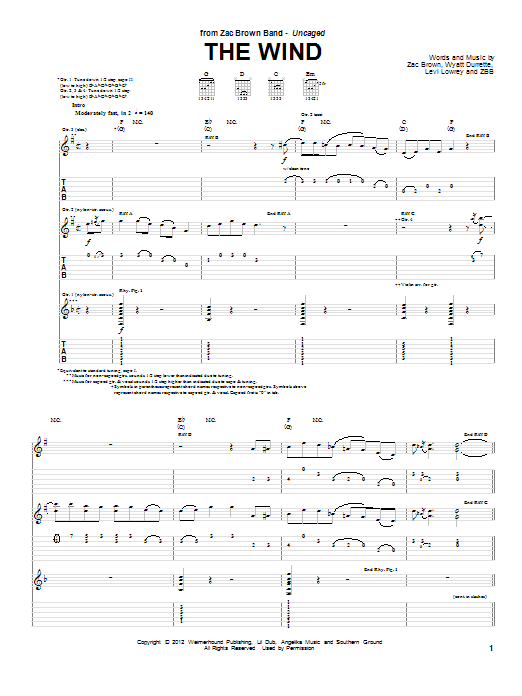 Tablature guitare The Wind de Zac Brown Band - Tablature Guitare
