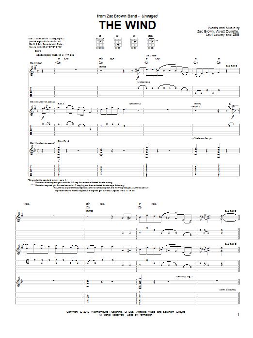 Zac Brown Band: The Wind - Guitar Tab : Sheetmusicdirect.com