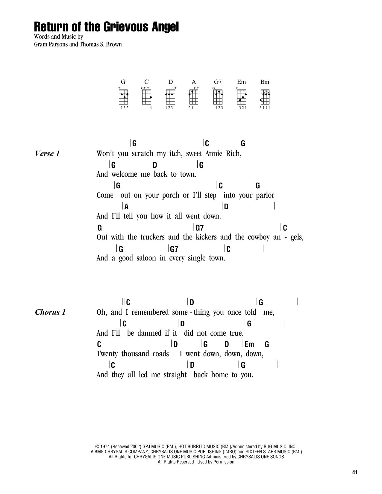 Tablature guitare Return Of The Grievous Angel de Gram Parsons - Ukulele (strumming patterns)
