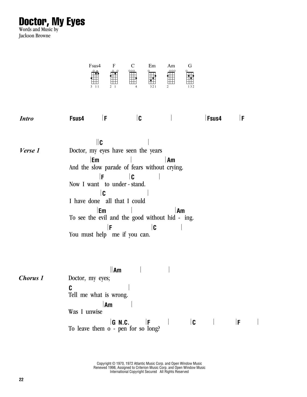Sheet music digital files to print licensed ukulele chords doctor my eyes hexwebz Choice Image