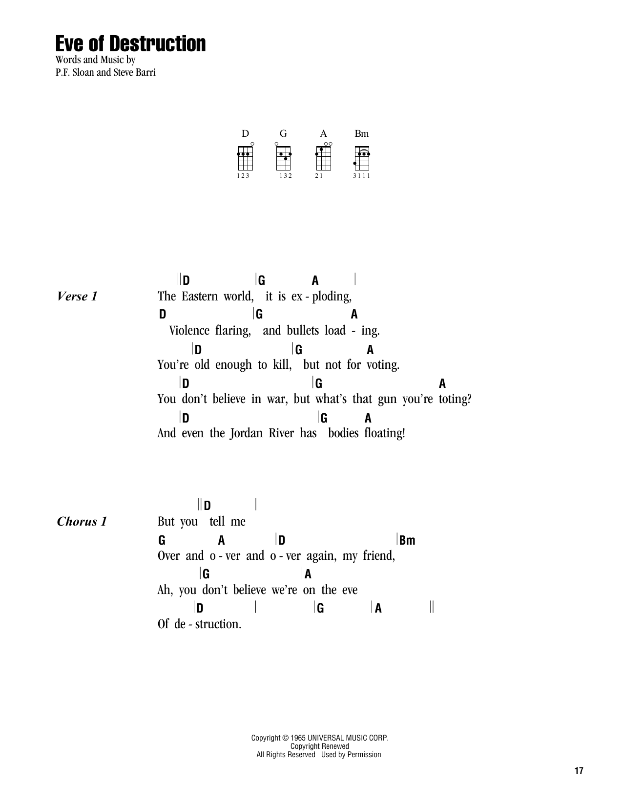 Tablature guitare Eve Of Destruction de Barry McGuire - Ukulele (strumming patterns)