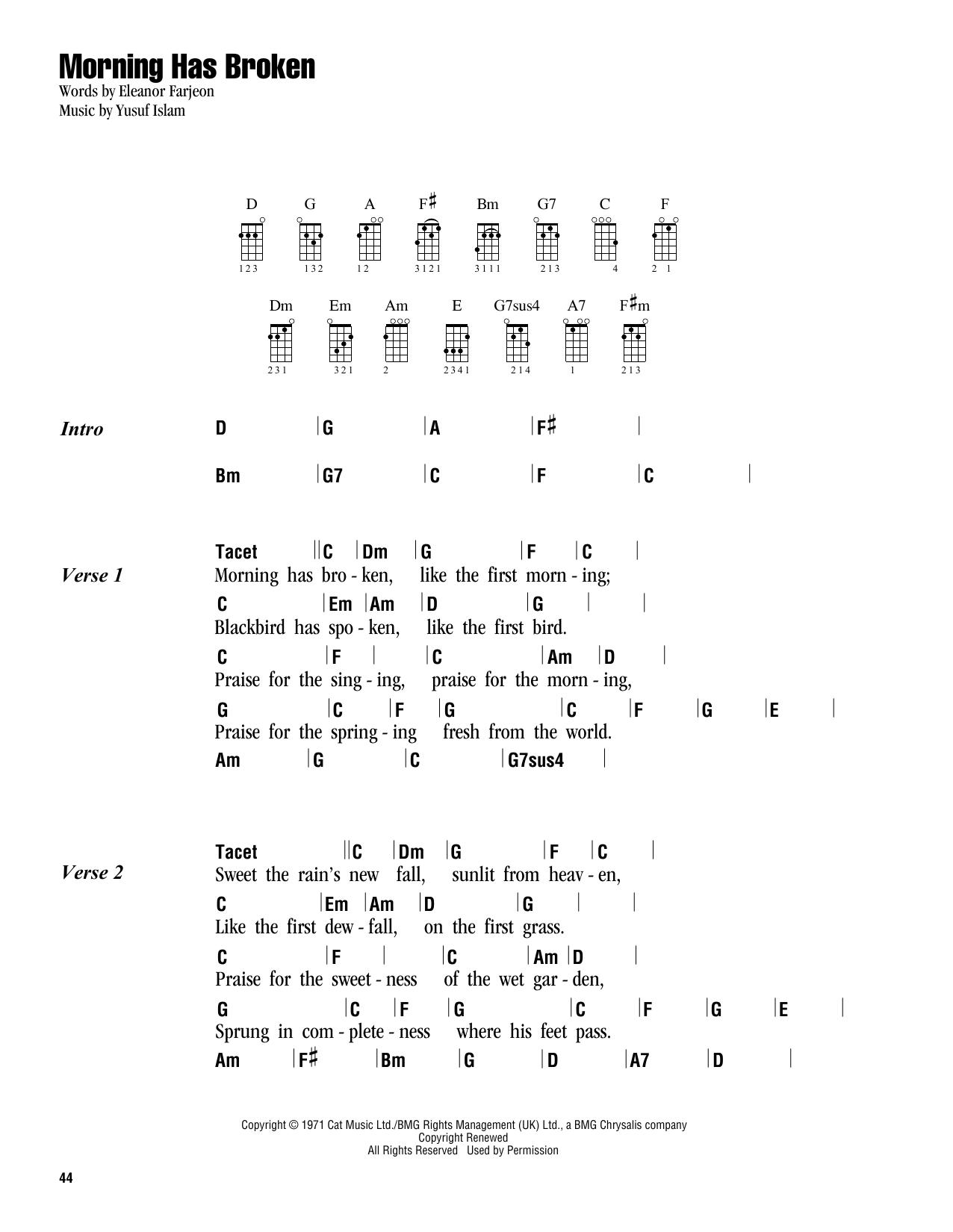 Tablature guitare Morning Has Broken de Cat Stevens - Ukulele (strumming patterns)
