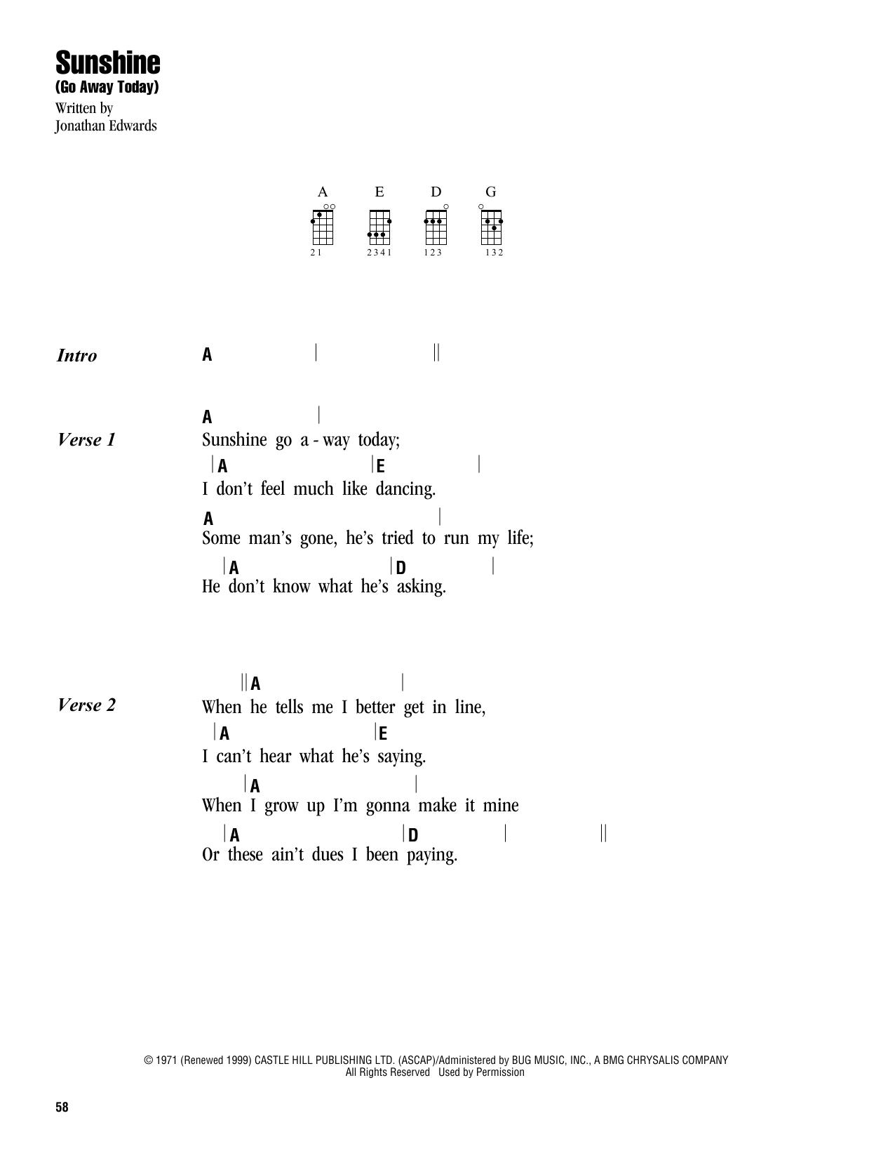 Tablature guitare Sunshine (Go Away Today) de Jonathan Edwards - Ukulele (strumming patterns)