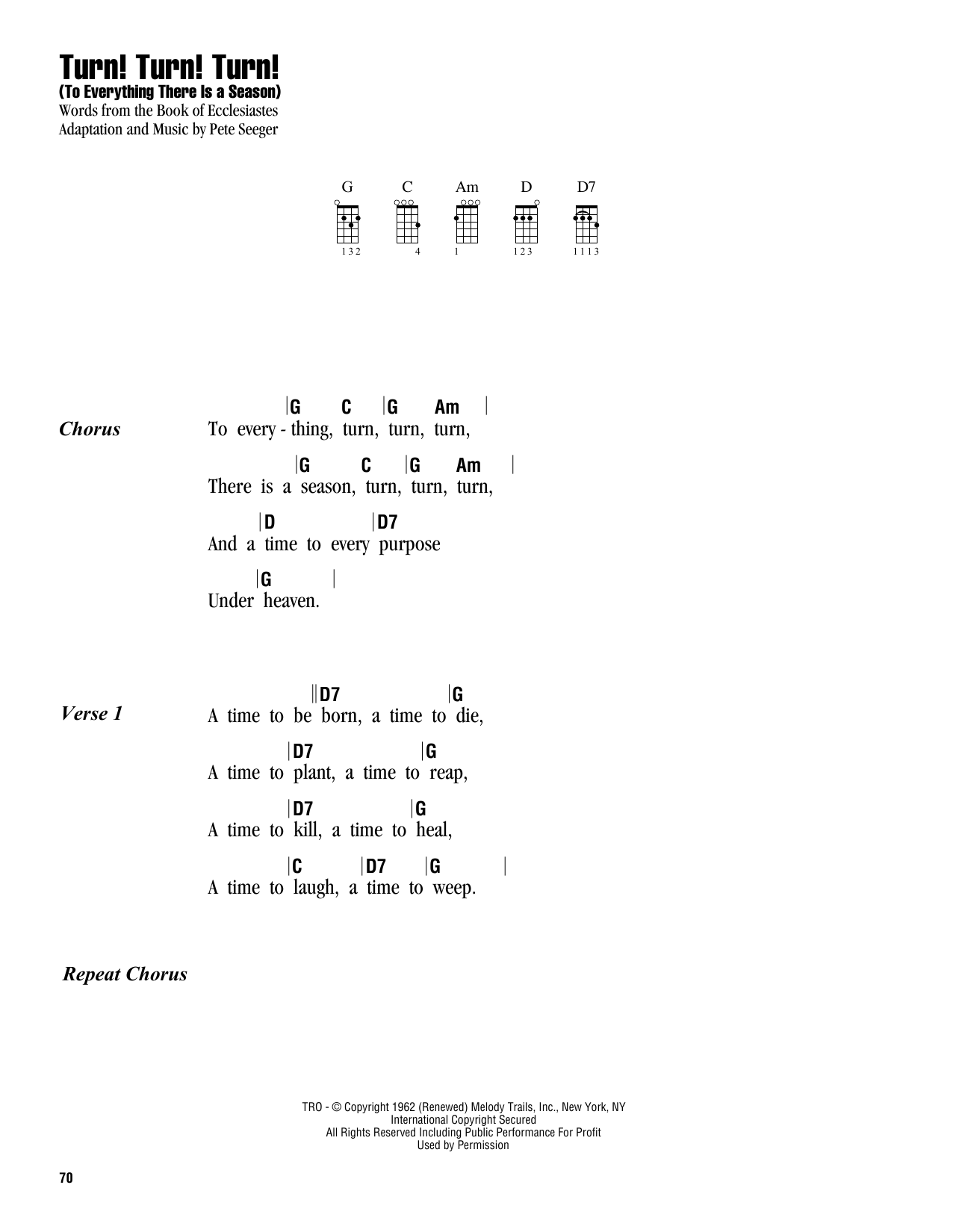 Tablature guitare Turn! Turn! Turn! (To Everything There Is A Season) de The Byrds - Ukulele (strumming patterns)