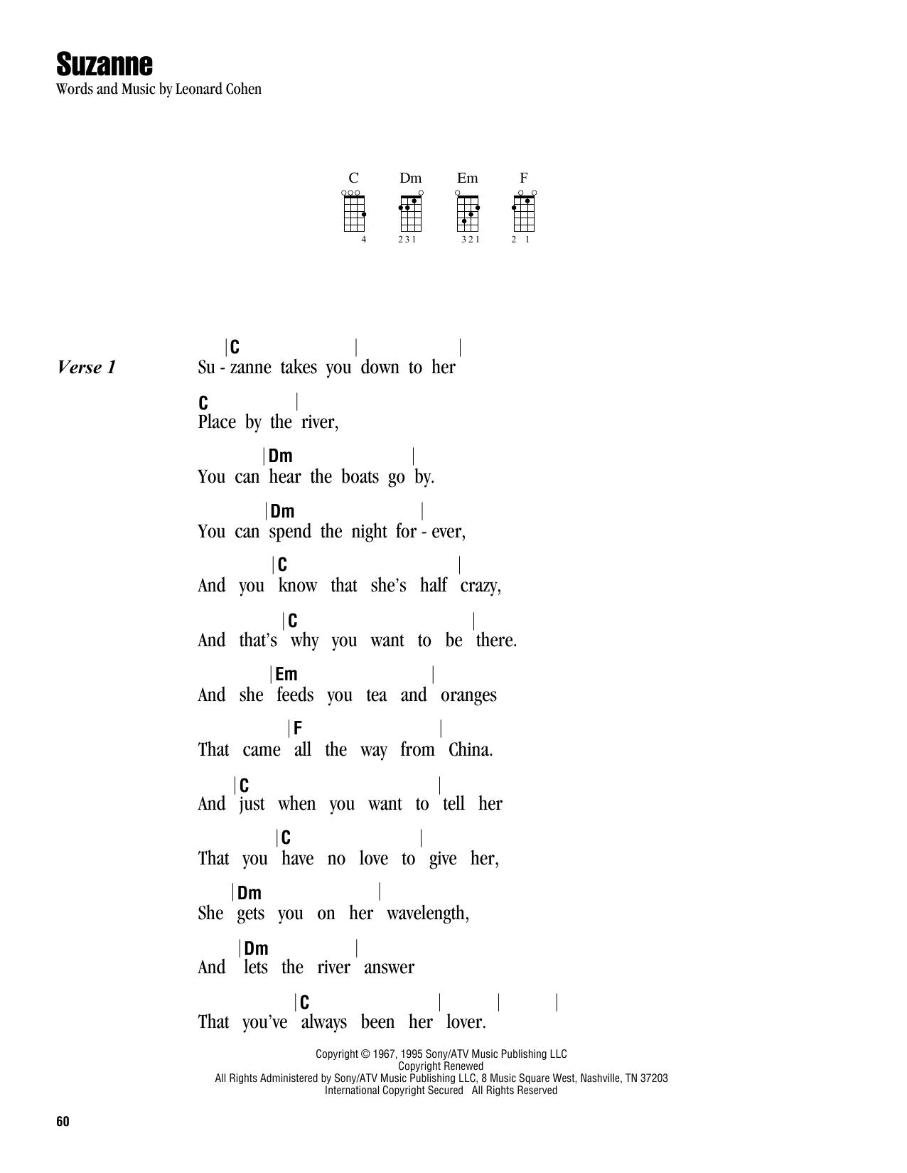 Tablature guitare Suzanne de Leonard Cohen - Ukulele (strumming patterns)