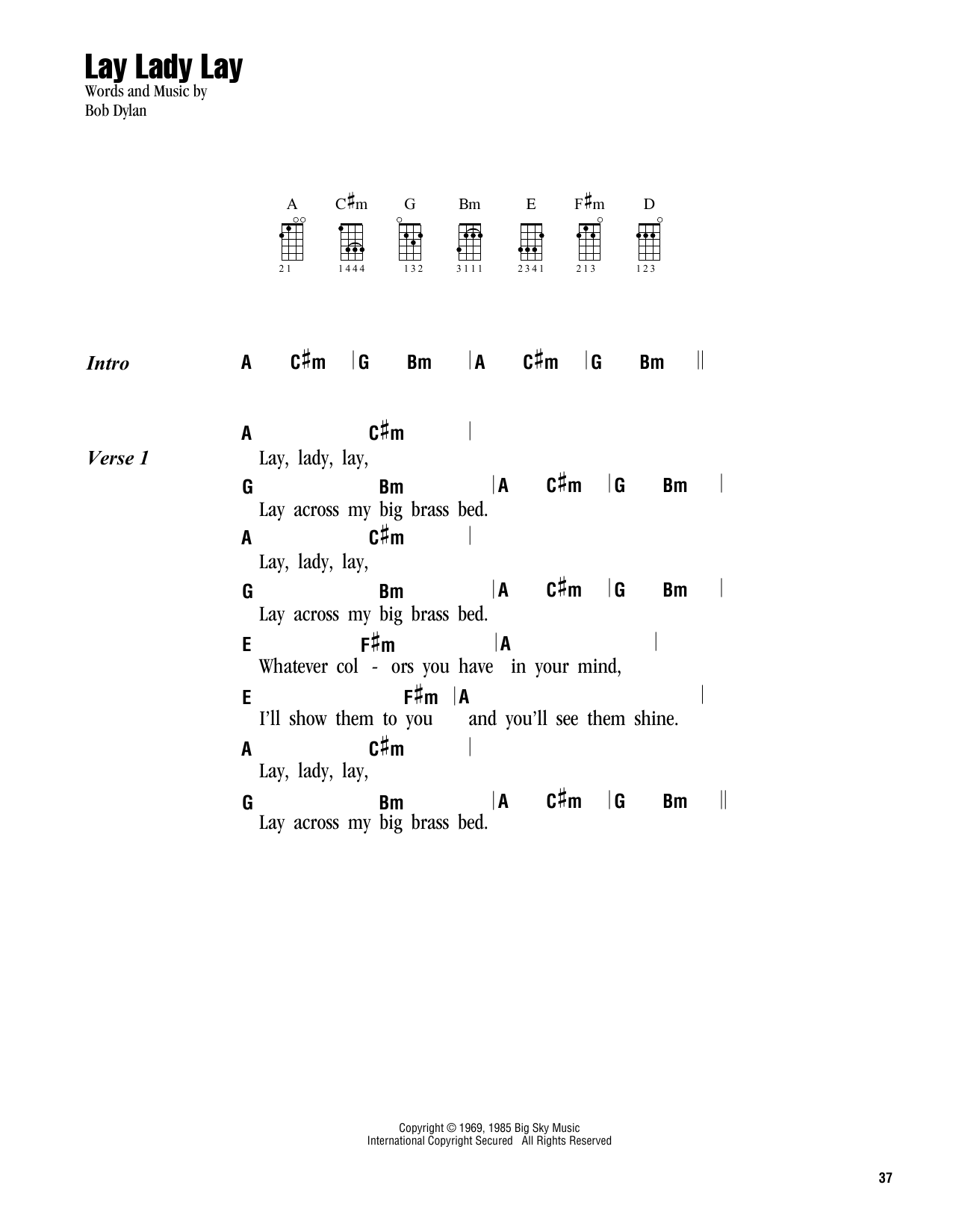 Tablature guitare Lay, Lady, Lay de Bob Dylan - Ukulele (strumming patterns)
