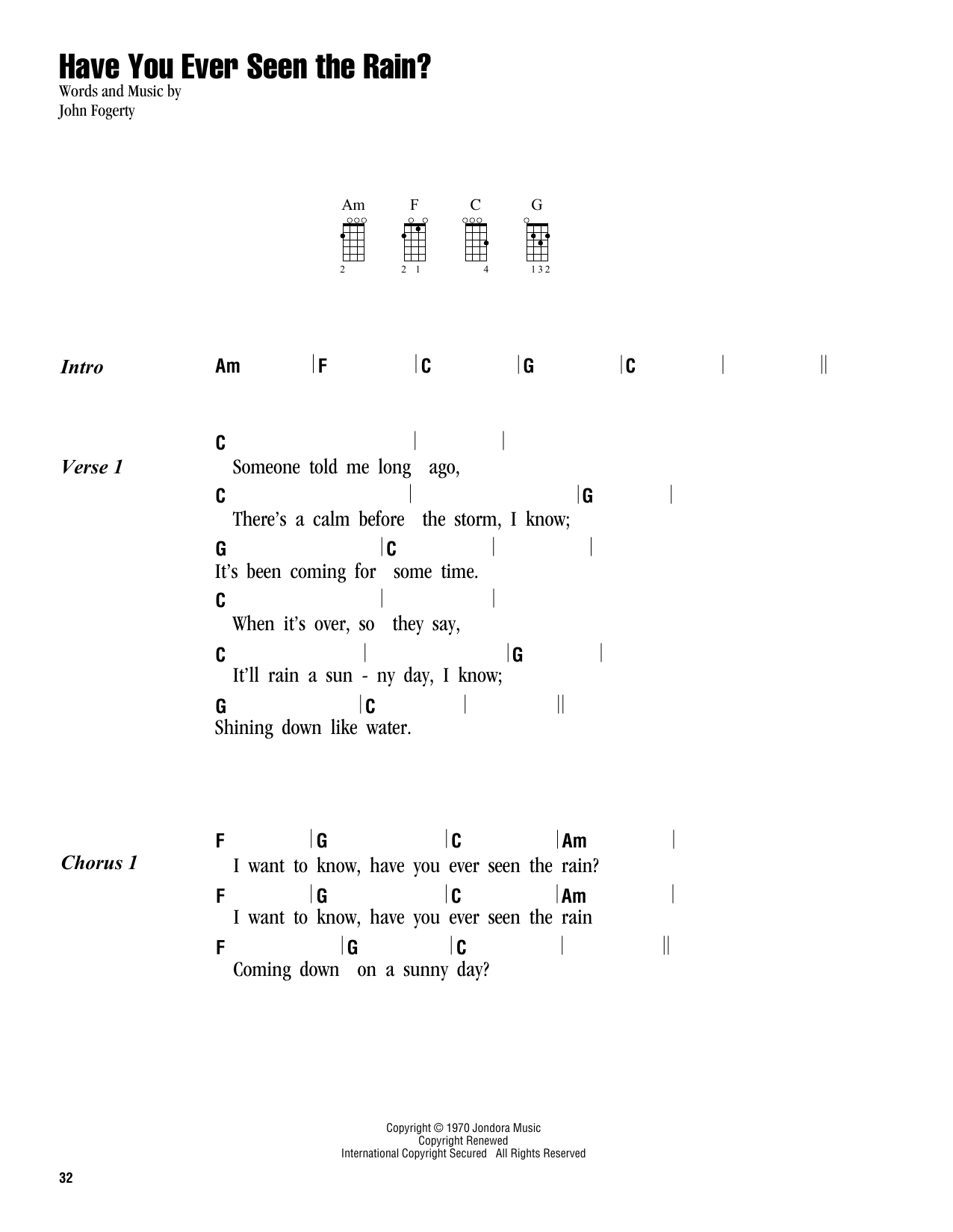 Tablature guitare Have You Ever Seen The Rain? de Creedence Clearwater Revival - Ukulele (strumming patterns)