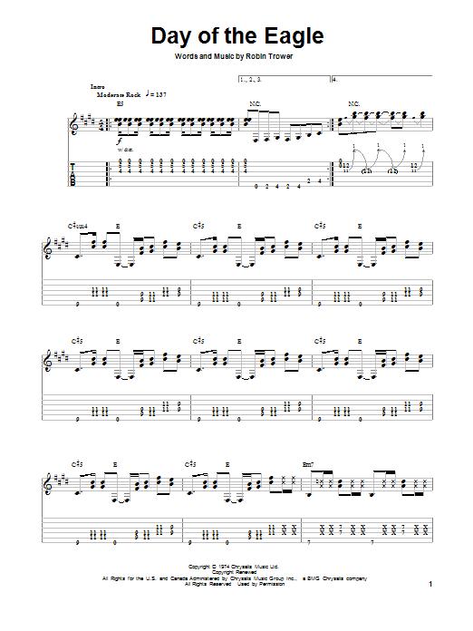 Tablature guitare Day Of The Eagle de Robin Trower - Tablature Guitare