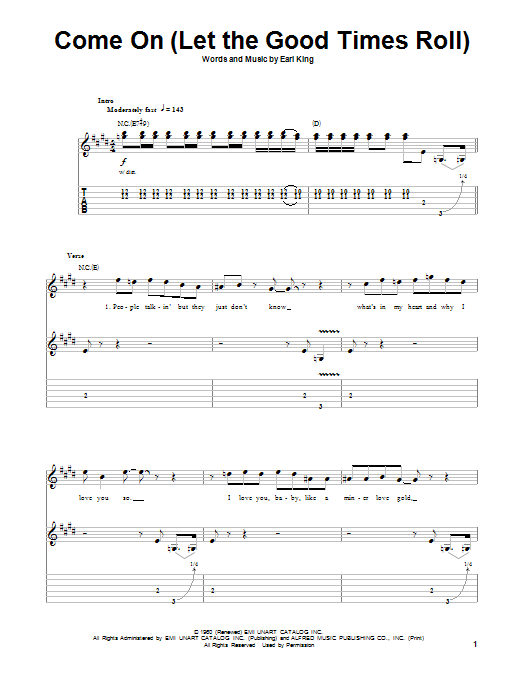 Tablature guitare Come On (Part 1) de Jimi Hendrix - Tablature Guitare