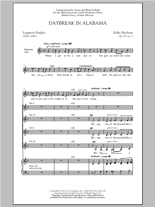 Partition chorale Daybreak In Alabama de Kirke Mechem - SSA