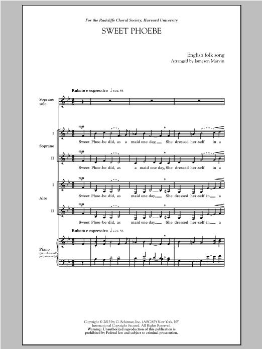 Partition chorale Sweet Phoebe de Jameson Marvin - SSA