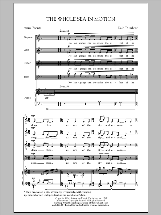 Partition chorale The Whole Sea In Motion de Dale Trumbore - SATB