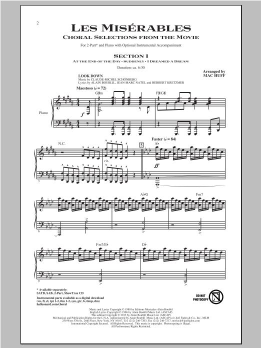 Partition chorale Les Miserables (Choral Selections From The Movie) de Les Miserables (Movie) - 2 voix
