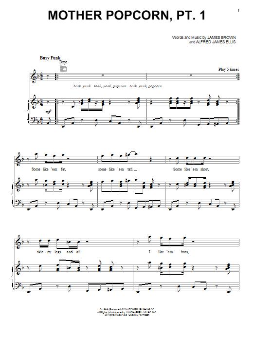 Partition piano Mother Popcorn, Pt. 1 de James Brown - Piano Voix Guitare (Mélodie Main Droite)