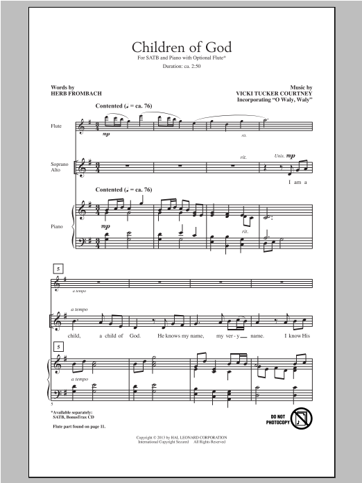 Partition chorale Children Of God de Herb Frombach - SATB