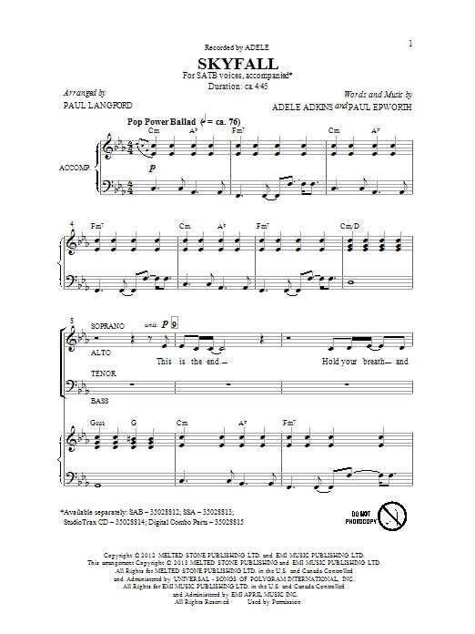 Partition chorale Skyfall de Adele - SATB