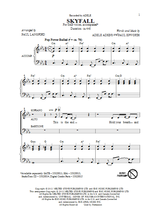 Partition chorale Skyfall de Adele - SAB