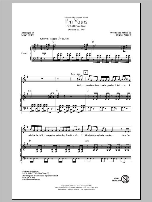 Partition chorale I'm Yours de Jason Mraz - SATB