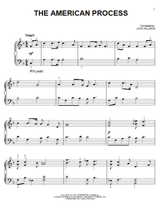 Partition piano The American Process de John Williams - Piano Facile