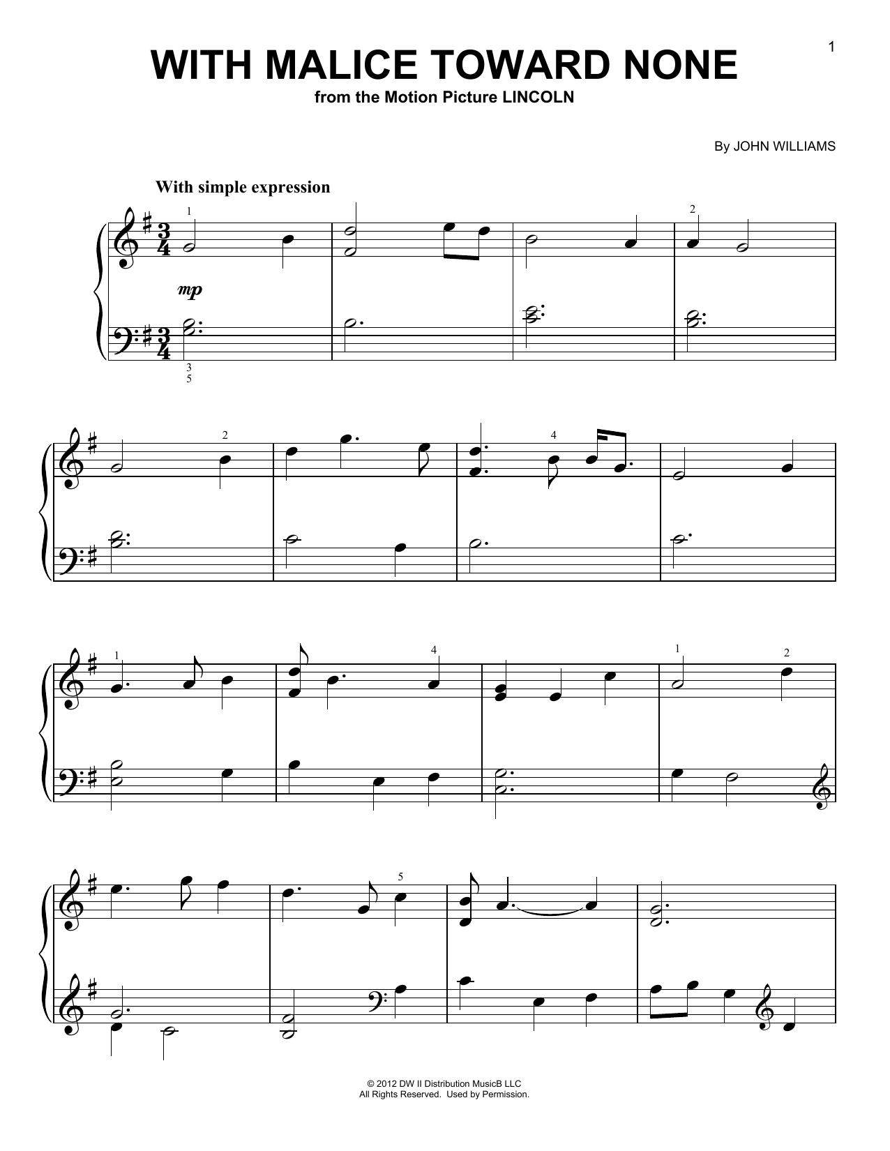 Partition piano With Malice Toward None de John Williams - Piano Facile
