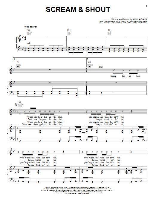Partition piano Scream & Shout de will.i.am - Piano Voix Guitare (Mélodie Main Droite)