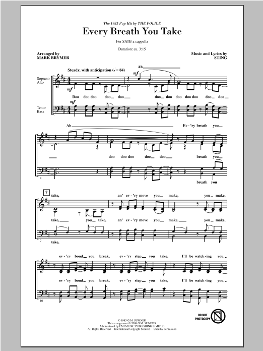Partition chorale Every Breath You Take de Sting - SATB