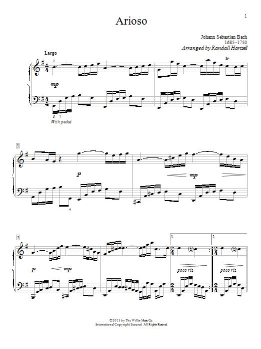 Partition piano Arioso de Johann Sebastian Bach - Piano Solo