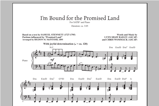 Partition chorale I'm Bound For The Promised Land de Lynn Shaw Bailey - SATB