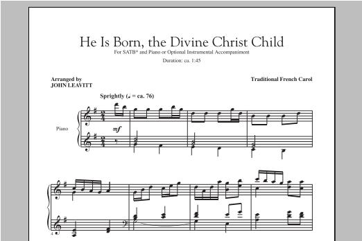 Partition chorale He Is Born de John Leavitt - SATB