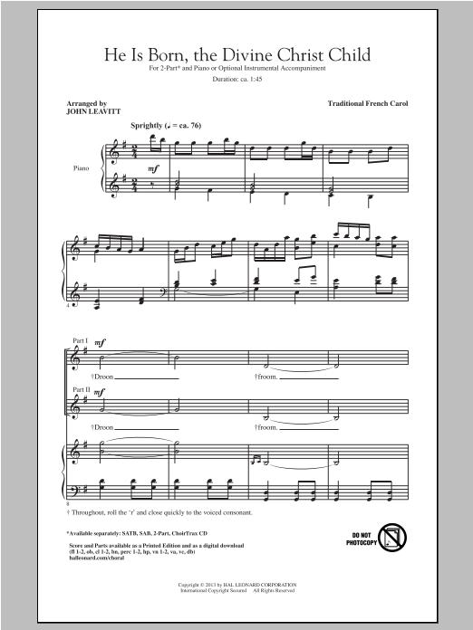 Partition chorale He Is Born de John Leavitt - 2 voix