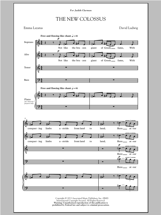 Partition chorale The New Colossus de David Ludwig - SATB