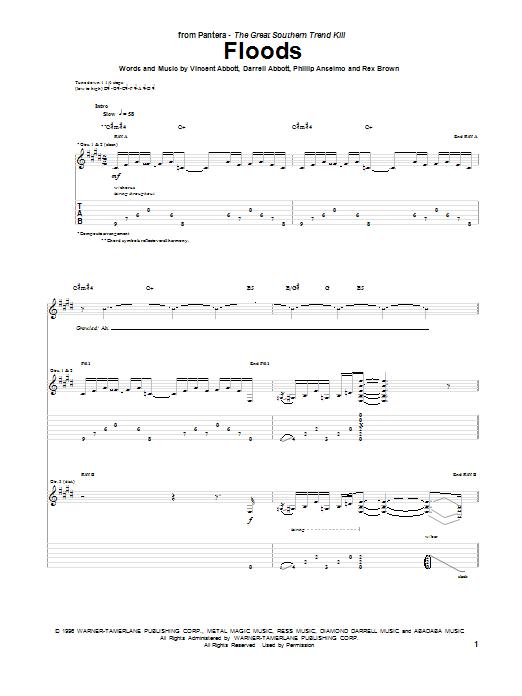 Sheet Music Digital Files To Print - Licensed Pantera Digital Sheet ...