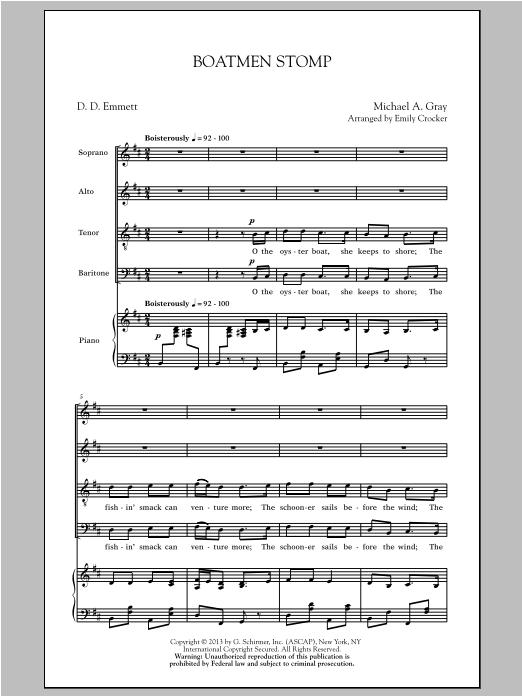 Partition chorale Boatmen Stomp de Emily Crocker - SATB