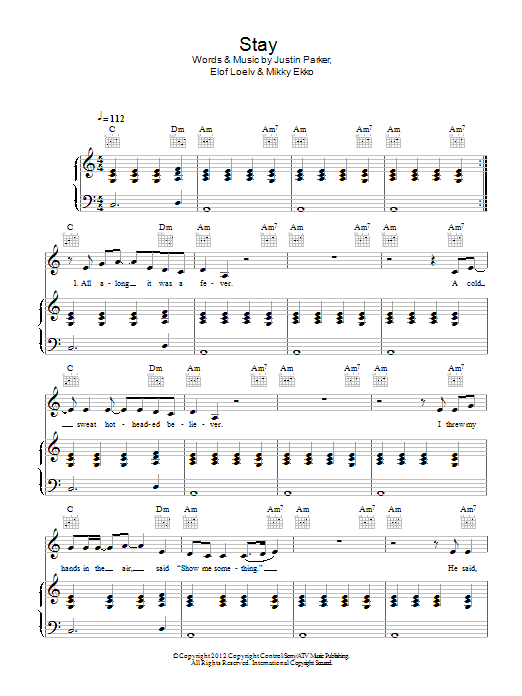 Stay : Sheet Music Direct
