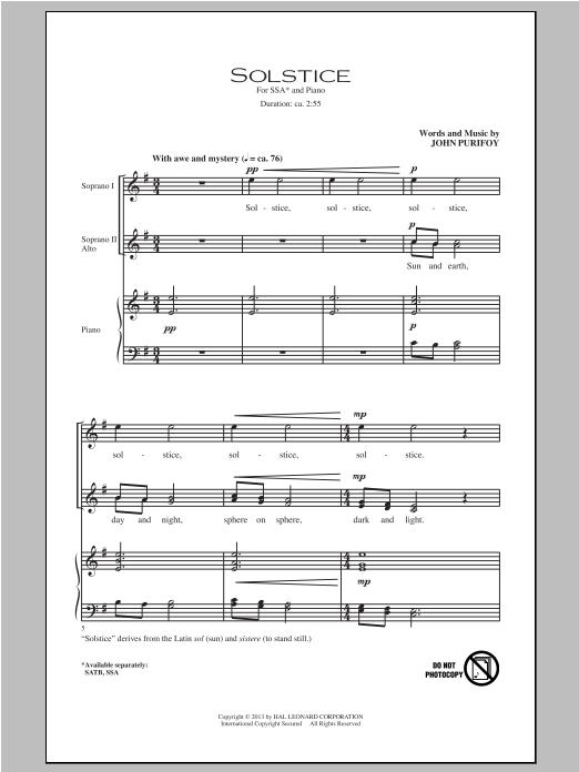 Partition chorale Solstice de John Purifoy - SSA