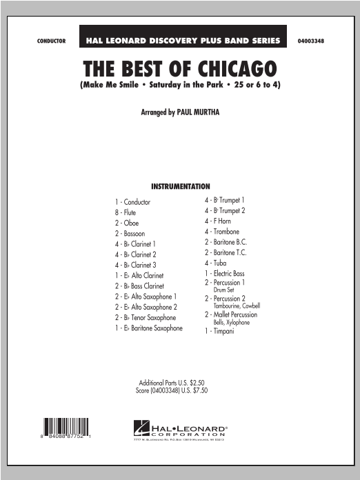 The Best Of Chicago (COMPLETE) sheet music for concert band by Paul Murtha