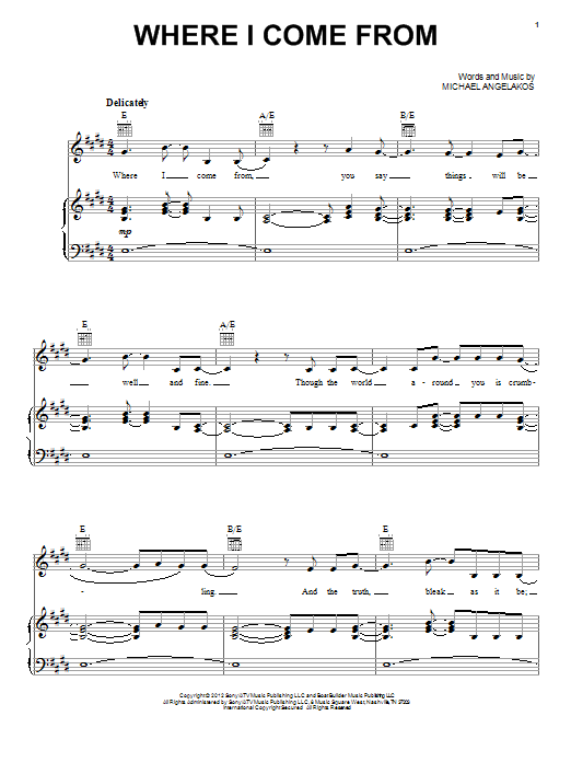 Partition piano Where I Come From de Passion Pit - Piano Voix Guitare (Mélodie Main Droite)